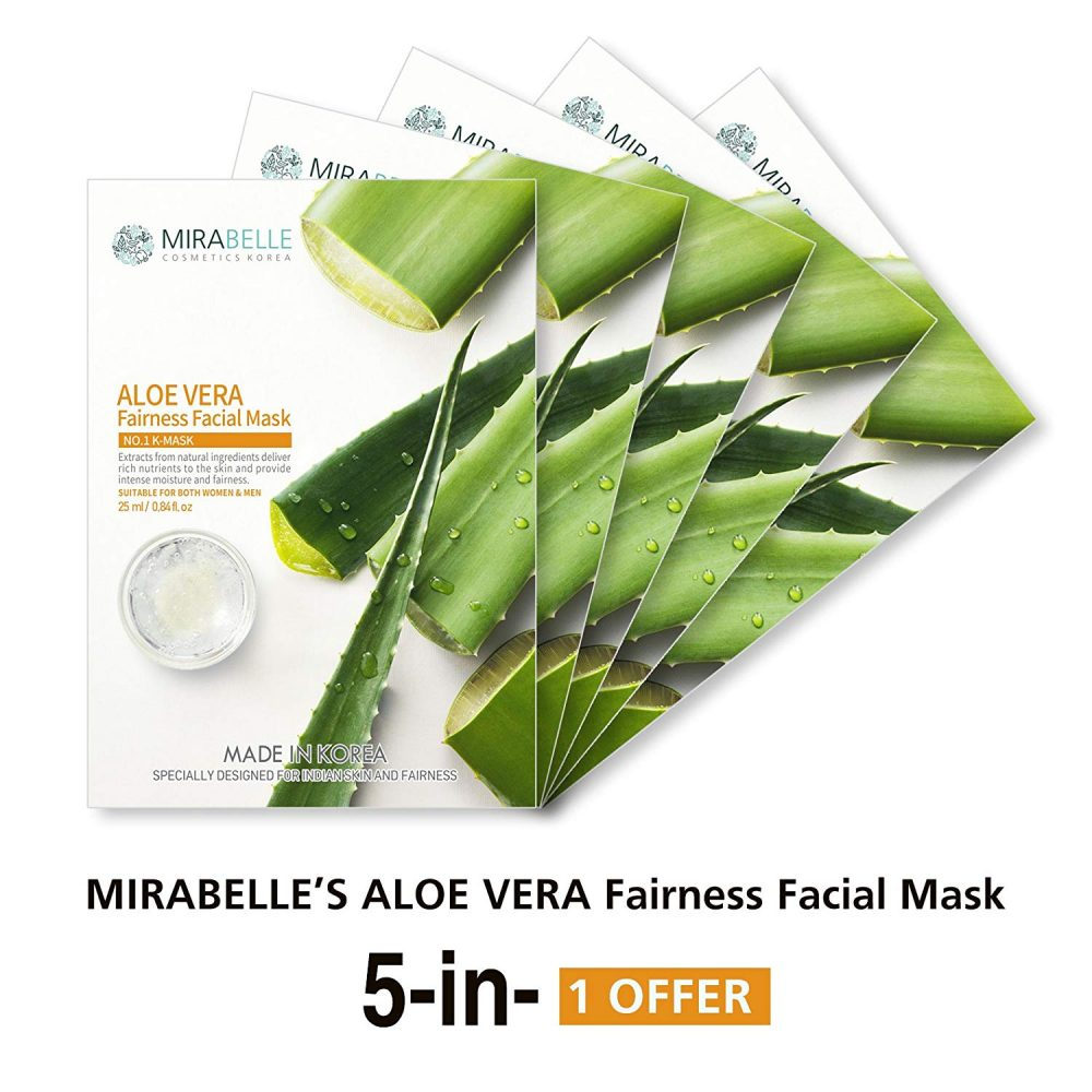 Mirabelle Aloe Vera essence fairness facial sheet mask pack of 5