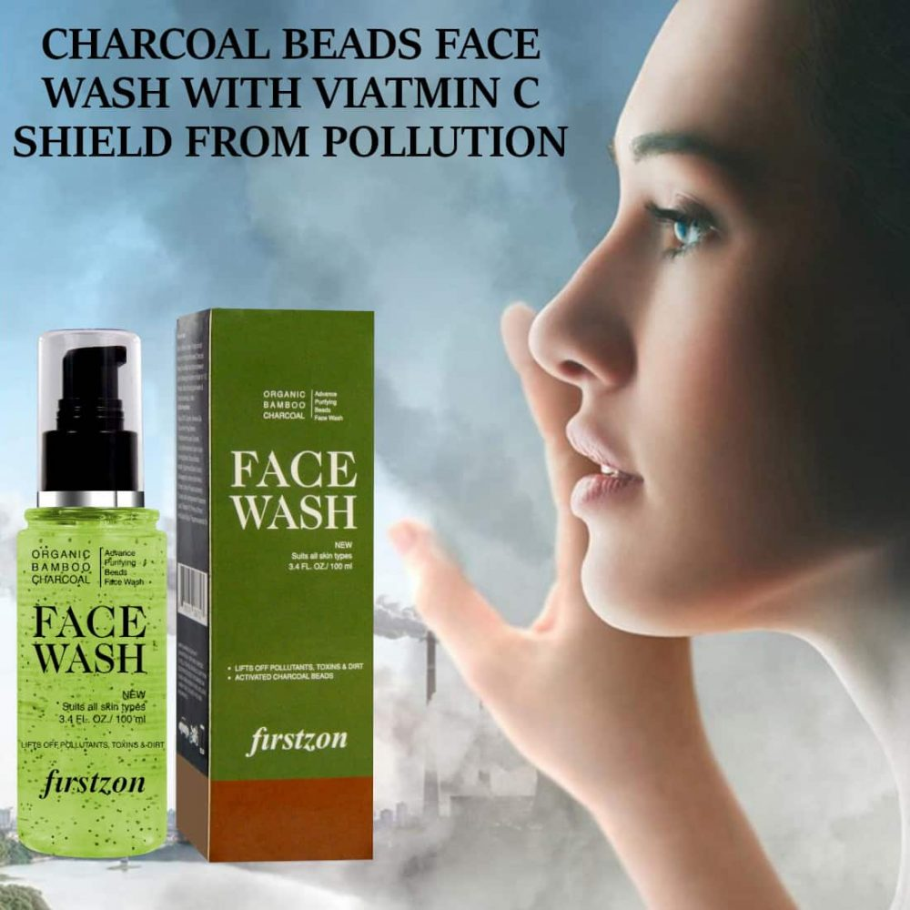 FIRSTZON advance purifying bamboo charcoal beads face wash aloe and apple cider extract face wash (100ml) , charcoal beads face wash with vitamin C shield form pollution