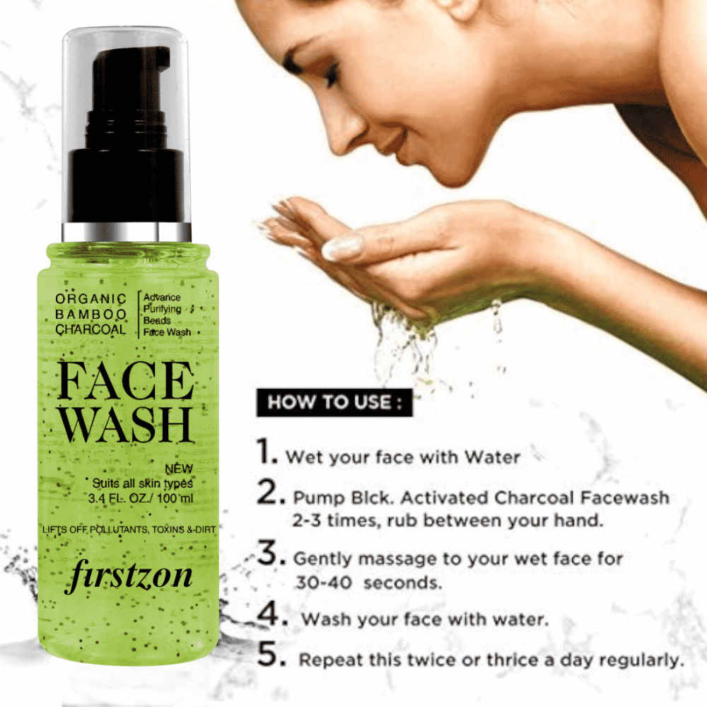 FIRSTZON advance purifying bamboo charcoal beads face wash aloe and apple cider extract face wash (100ml) ,no sulphate , no parabens , no mineral oils, no artifical fragrances, how to use