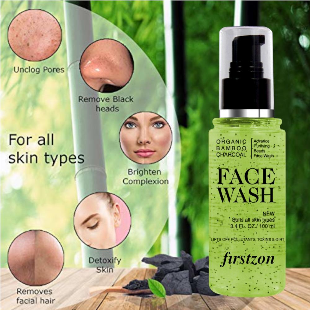 FIRSTZON advance purifying bamboo charcoal beads face wash aloe and apple cider extract face wash (100ml) ,for all skin types , unclog pores , remove black heads ,brighten complexion . detoxify skin , removes facial hair