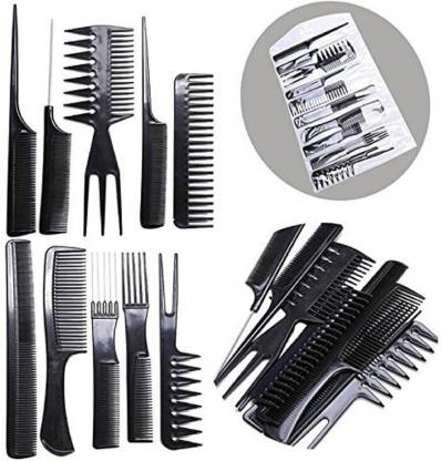 Firstzon 10 pcs pro salon hair cut styling Hairdressing barbers combs set