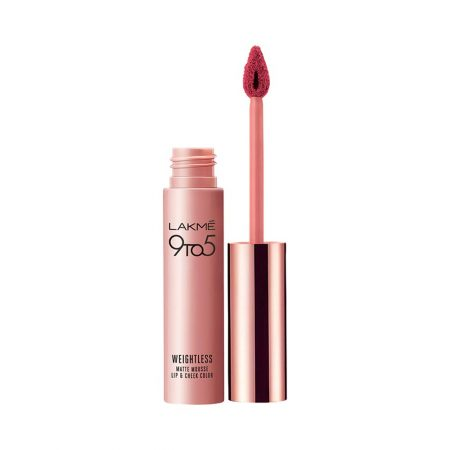 lakme 9to5 weightless mousse lip and cheek color plum 9g