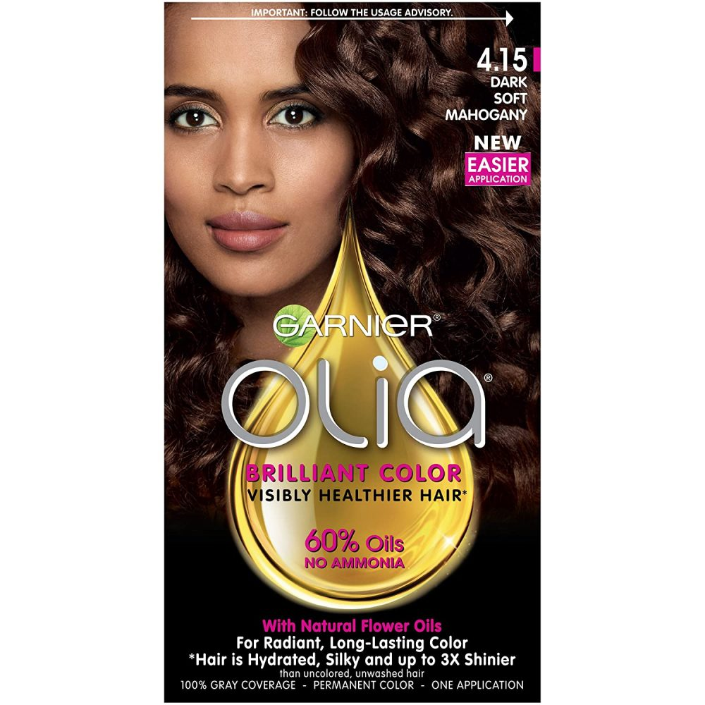 GARINER olia oil powered permanent hair color, 4.15 dark soft mahogany , 60% oils-no ammonia exceptional color , visibly improved hair quality color after color