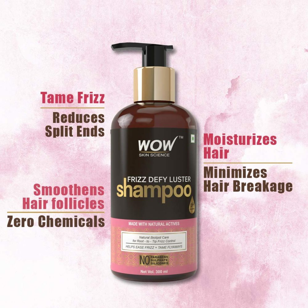 WOW frizz defy luster no parabens, sulphate, silicone shampoo, 300ml