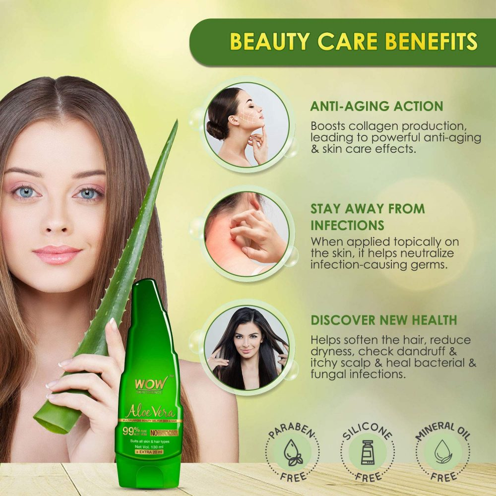 WOW aloe vera multipurpose beauty gel for skin and hair , 130ml+20ml new look wow products , aloevera juice , xanthan gum . citric acid WOW aloe vera multipurpose beauty gel for skin and hair , 130ml+20ml new look wow products , aloevera juice , xanthan gum . citric acid , healthy moisturizer, sunburn soother , heel saver, hair & scalp nourisher , aftershave gel , natural scrub , anti-aging protector