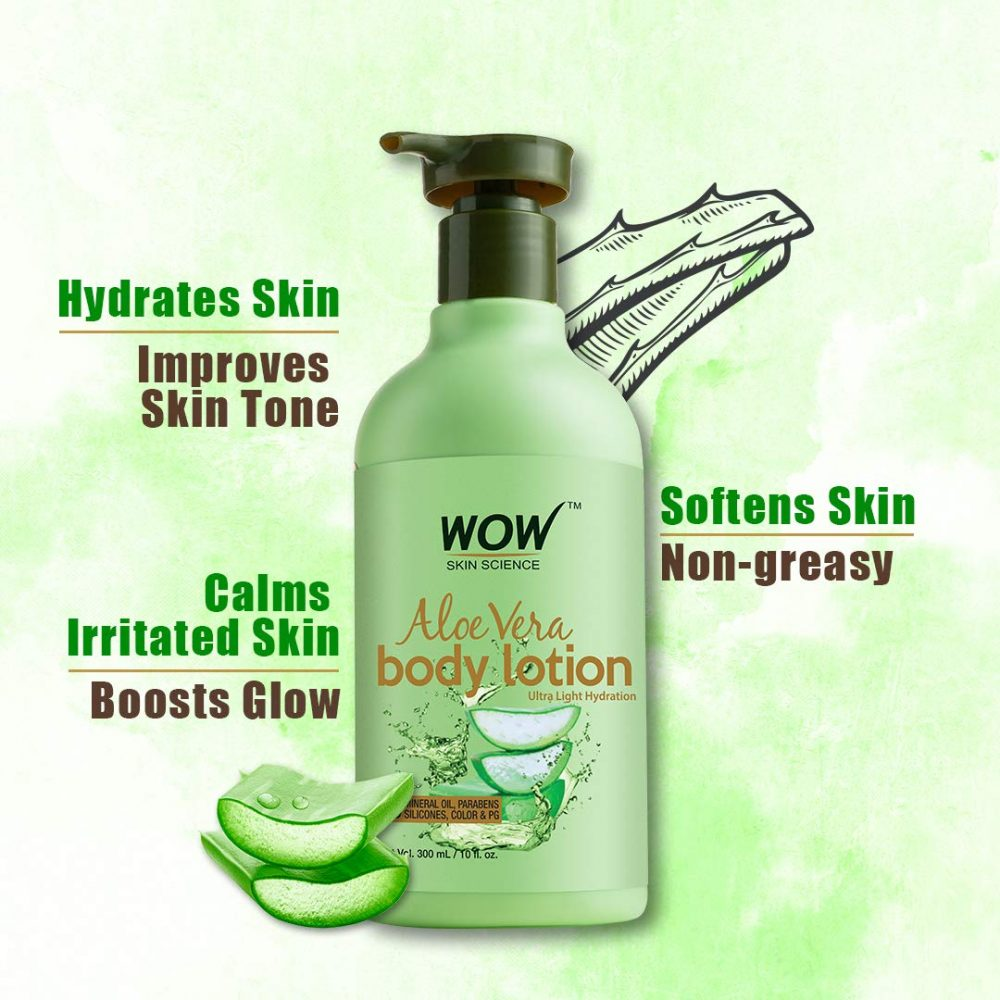 WOW skin science aloe vera body lotion- ultra light hydration - no mineral oil, parabens, silicones, ( 300ml)