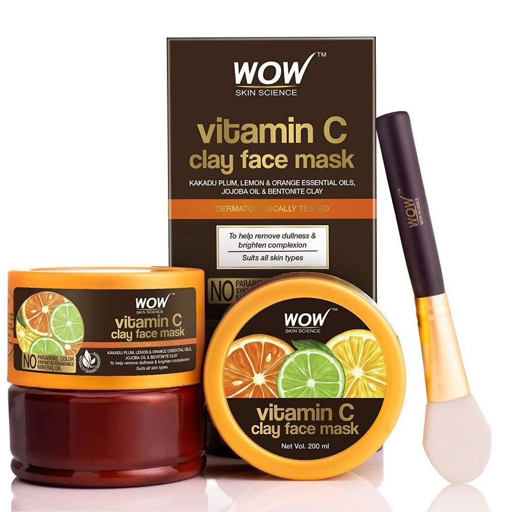 WOW skin science vitamin C glow clay face mask with lemon , orange essential oils , jojoda oil , bentonite clay - for all skin types, no parabens , syntheic fragrance , mineral oil ,200ml , cruelty free
