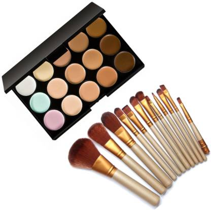 FIRSTZON 15 color cream concealer palette with 12 make up brush