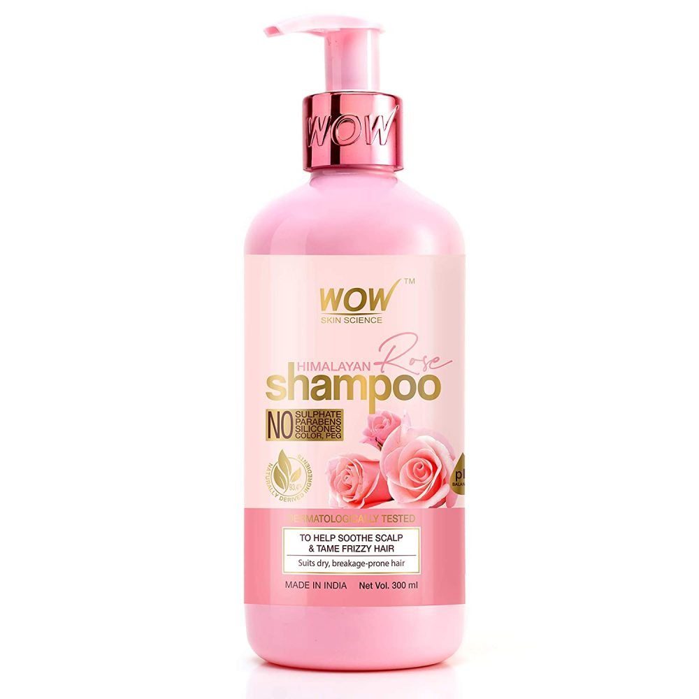 WOW skin science himalayan rose shampoo with rose hydrosol, coconut oil, almond oil, argan oil. for volumizing hair, anti smelly scalp - no parabens, sulphate, silicones. 300ml