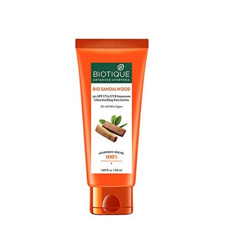 Biotique bio sandalwood sunscreen ultra soothing face lotion.