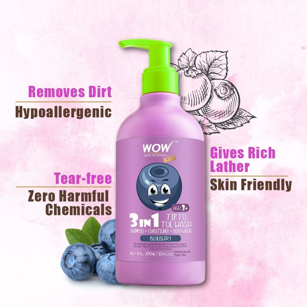 WOW kids tip to toe wash - shampoo - conditioner - body wash - no parabens, sulphate. silicones, mineral oil or color blueberry , 300ml