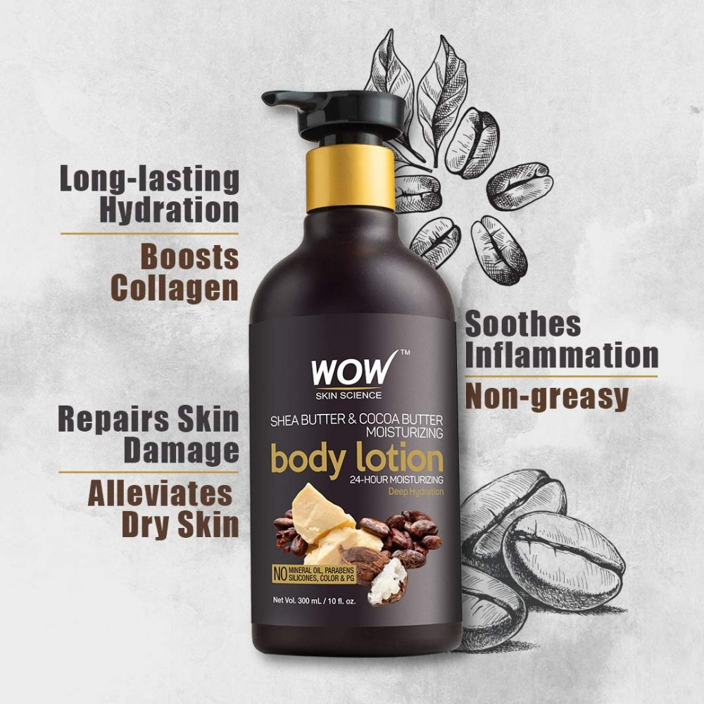 WOW shea abutter and coca butter moisturizing body lotion , deep hydration, 300ml