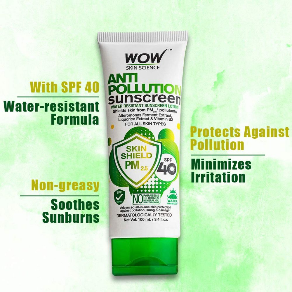 WOW anti pollution SPF40 water resistant no parabens , mineral oil sunscreen lotion 100ml