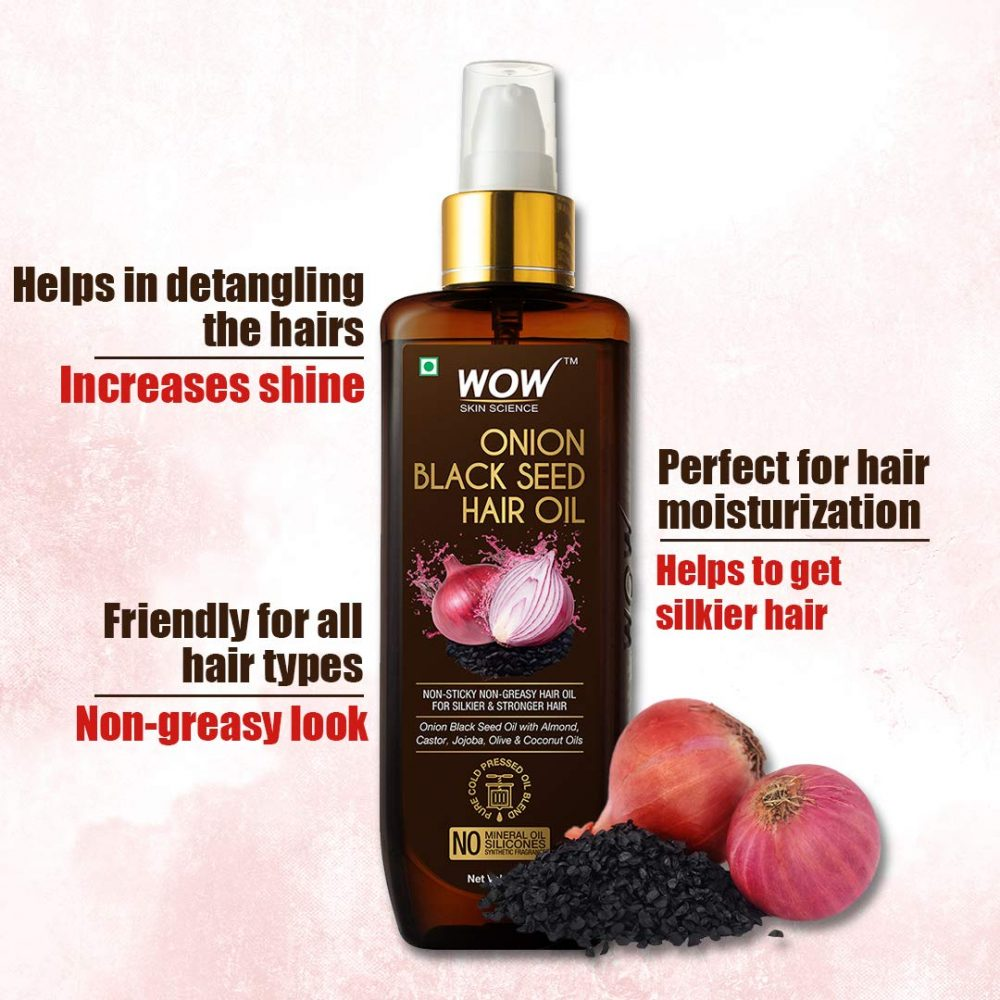 WOW skin science onion black seed hair oil , helps in detangling the hairs , friendly for all hair types , perfect for hair moisturization