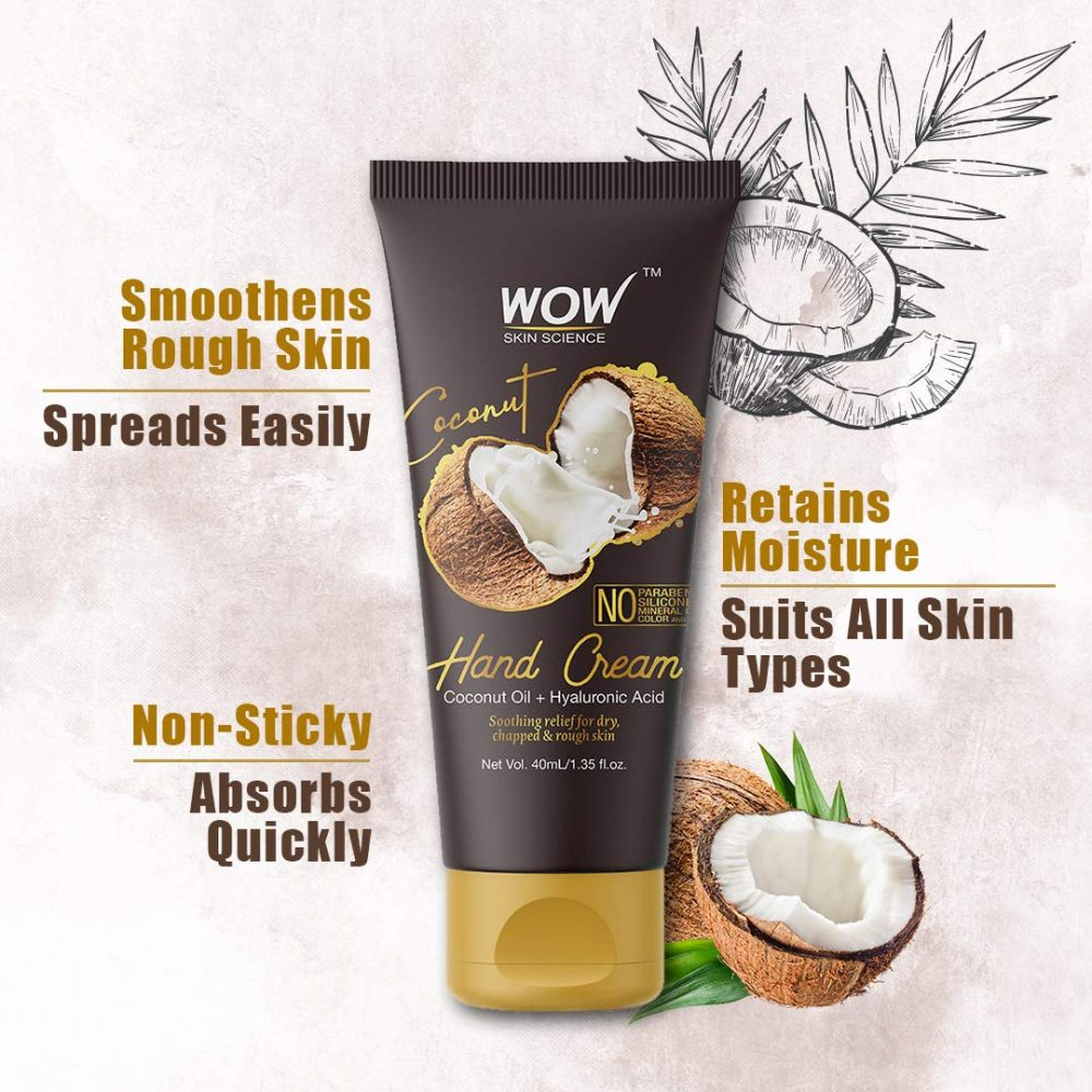 WOW skin science Coconut Gentle Hand Cream with coconut Oil+ Hyaluronic Acid - No Parabens, Silicones, Mineral Oil, color 40ml , gives long lasting hydration to yours hands , spreads easily and gets absorbed without feeling sticky , the packaging is pleasant and easy to carry