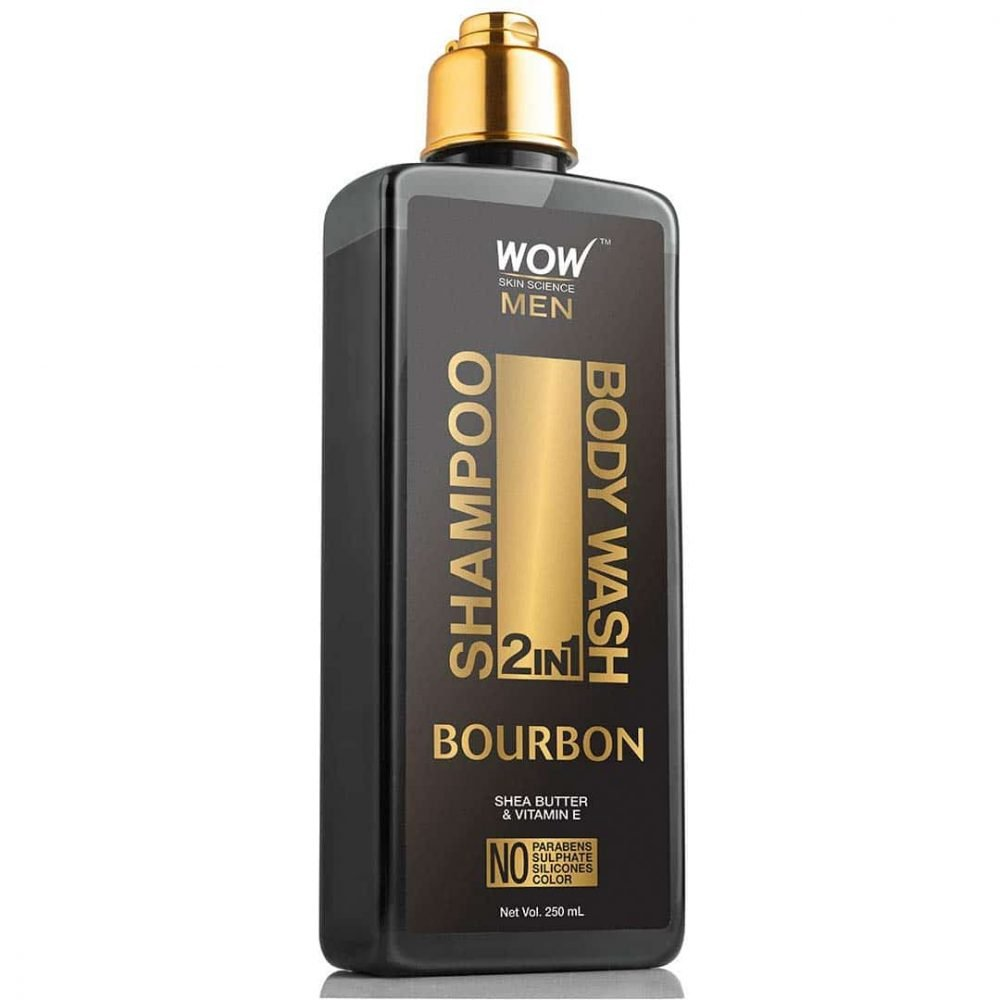 WOW bourbon 2-in-1 shampoo + body wash - no parabens, sulphate, silicones, 250ml