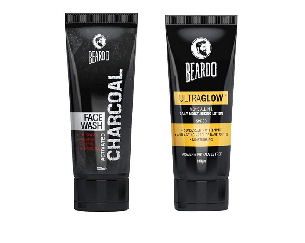 Beardo Acticated charcoal Face wash and ultra glow Face lotion combo pack