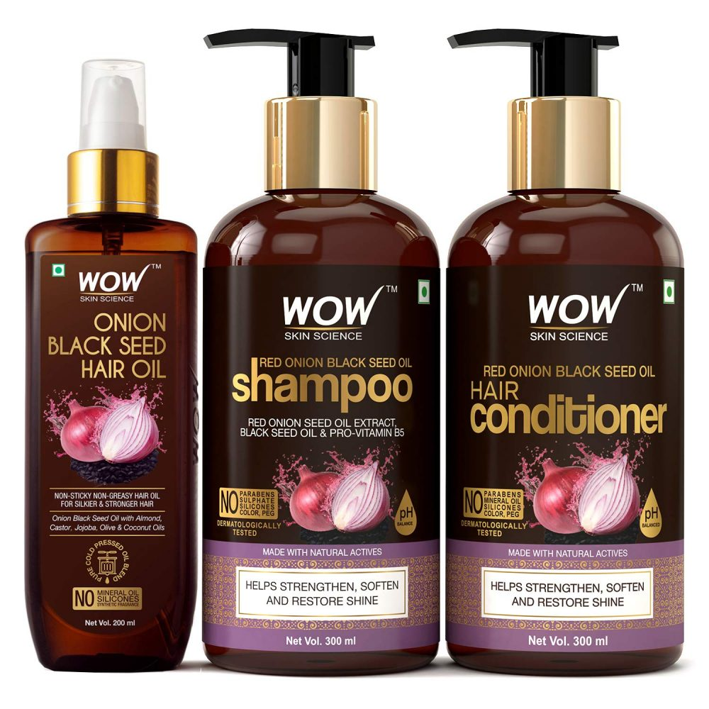 WOW skin science onion black seed oil ultimate hair care kit ( shampoo + hair conditioner + hair oil ) , 800ml ,