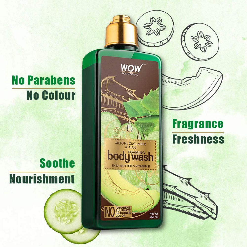 WOW melon, cucumber , aloe foaming body wash - no parabens, sulphate, silicones 250ml