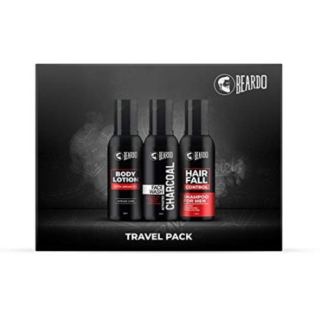Beardo Hair fall shampoo with charcoal face wash and body lotion combo travel pack