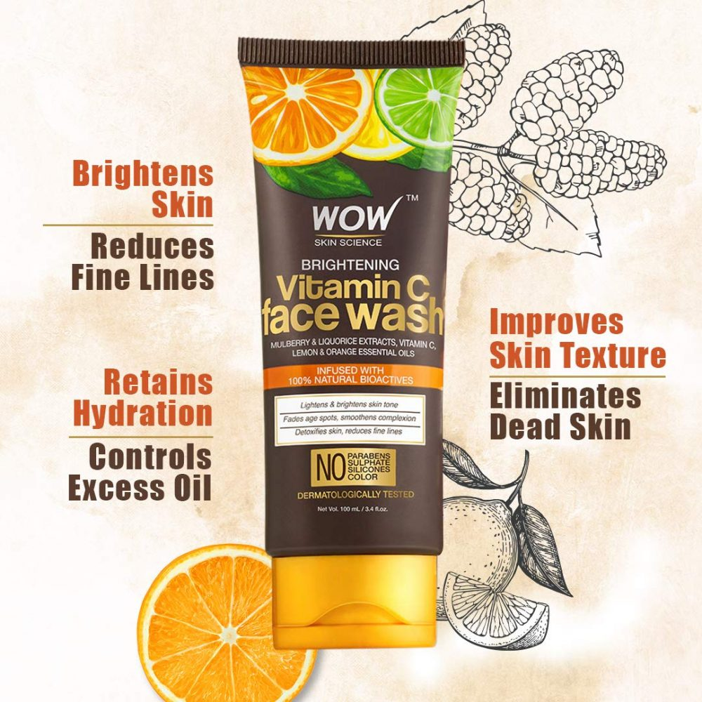 WOW skin science brightening vitamin C face wash - no parabens, sulphate , silicones , 100ml , 100% natural actives , removes dirt even form deep insides the pores , contains actives which gives long lasting hydration