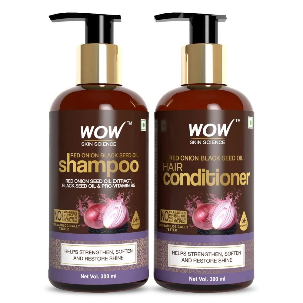 WOW skin science red onion black seed oil shampoo , conditioner kit with red onion seed oil extract , black seed oil , pro-vitamin B5 (shampoo + conditioner ) 600ml , how to use