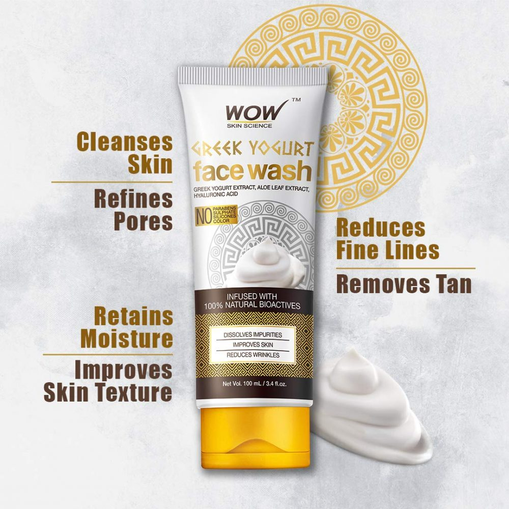 WOW skin science greek yoghurt face wash - no parabens, sulphate, silicones, color 100ml