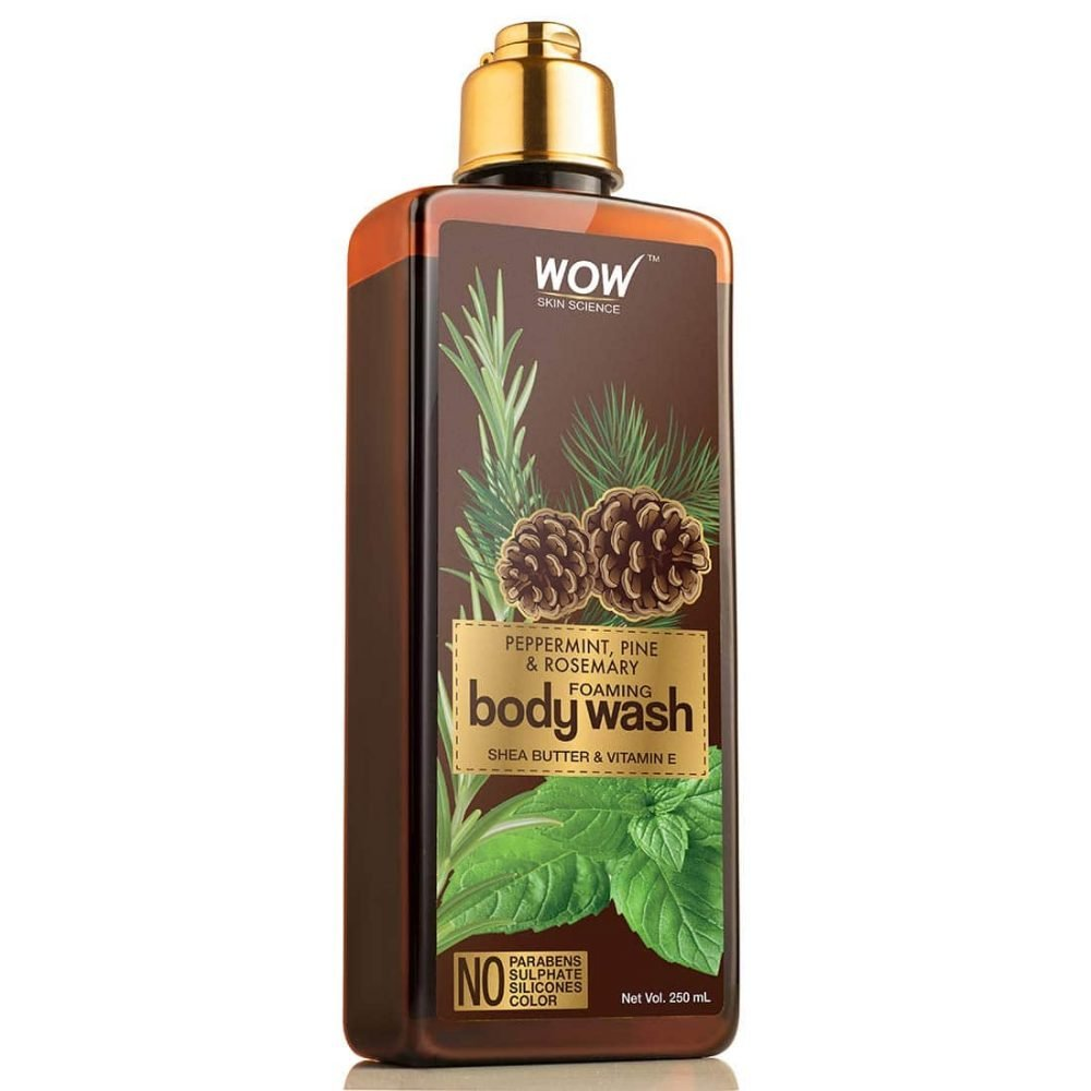 WOW peppermint, pine, rosemary foaming body wash - no parabens, sulphate, silicones, color 250ml