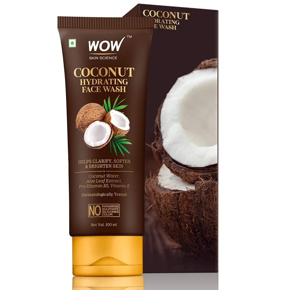 WOW skin science coconut hydrating face wash with coconut water, aloe leaf extract - for clarifying, softening, brightening skin - for dry/normal skin - no parabens, sulphate, silicones, 100ml