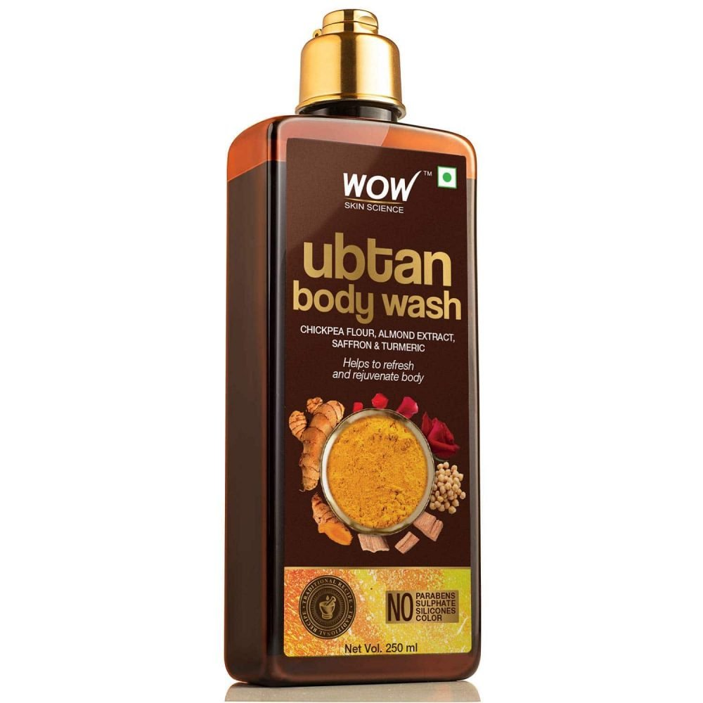 WOW skin science ubtan body wash with chickpea flour, almond extract, safron ,turmeric extracts- natural de-tan - no sulphate, parabens. silicones, 250 ml ,