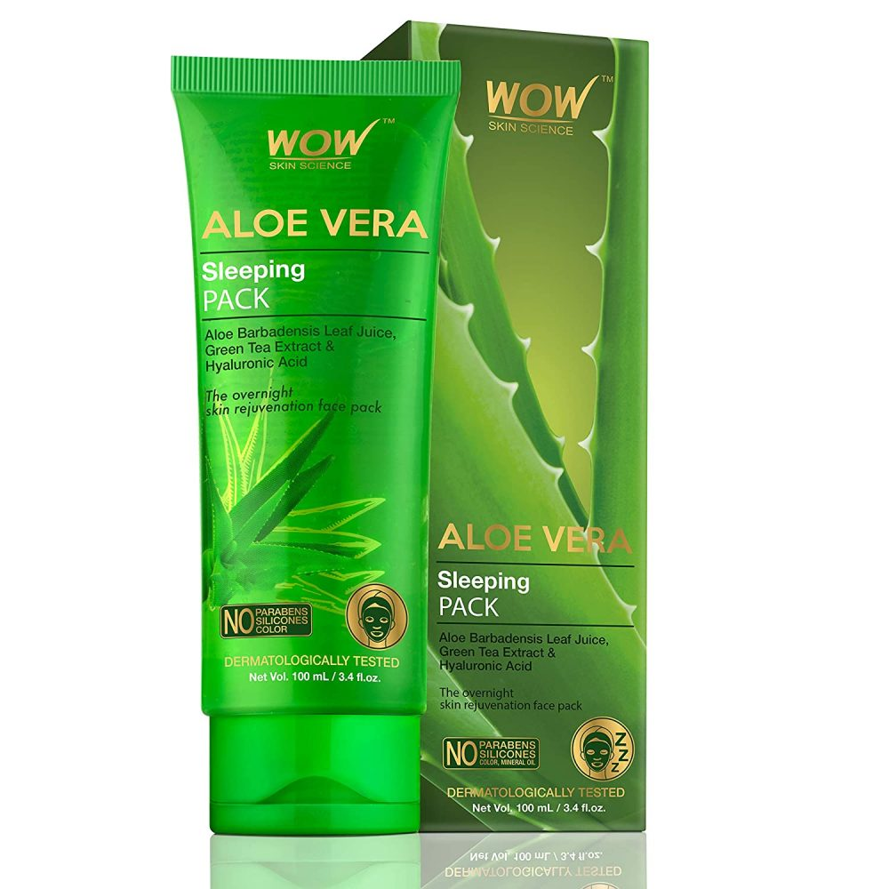 WOW skin science aloe vera with green tea extract and hyaluronic acid sleeping pack , no parabens, silicones, 100ml,