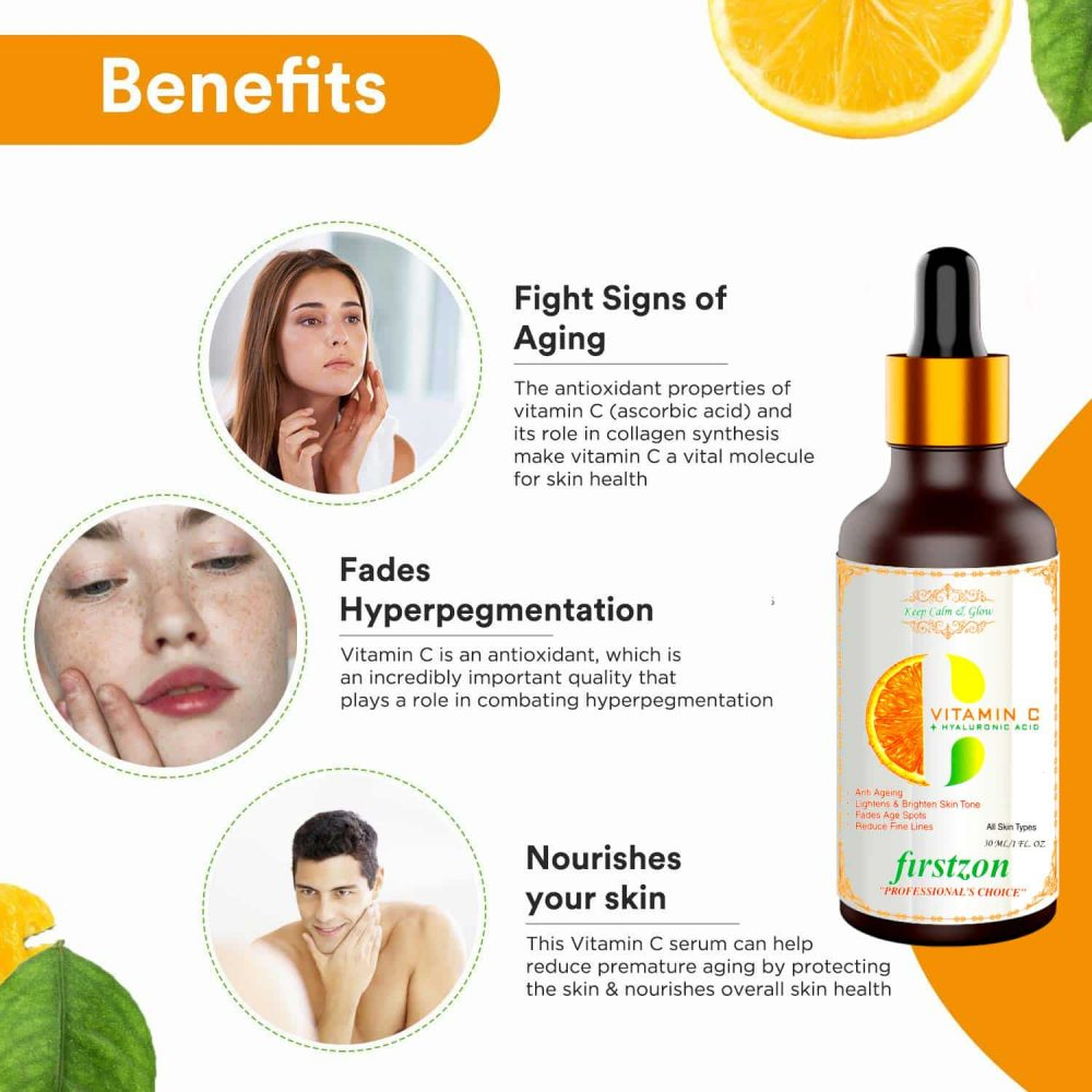 FIRSTZON vitamin C serum for face with vitamin C 40%, hyaluronic acid and green tea extract , for skin brightening, anti-ageing, wrinkle control 30ml , how to use vitamin C serum , vitamin C face serum benefits