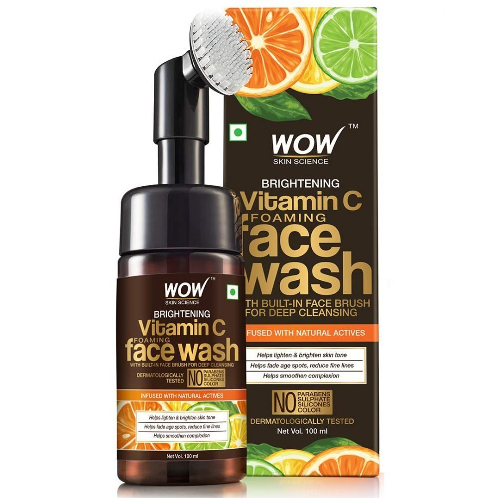 WOW skin science brightening vitamin C foaming face wash with built-in face brush for deep cleaning - no parabens, sulphate , silicones, 100ml , dermatologically tested , removes