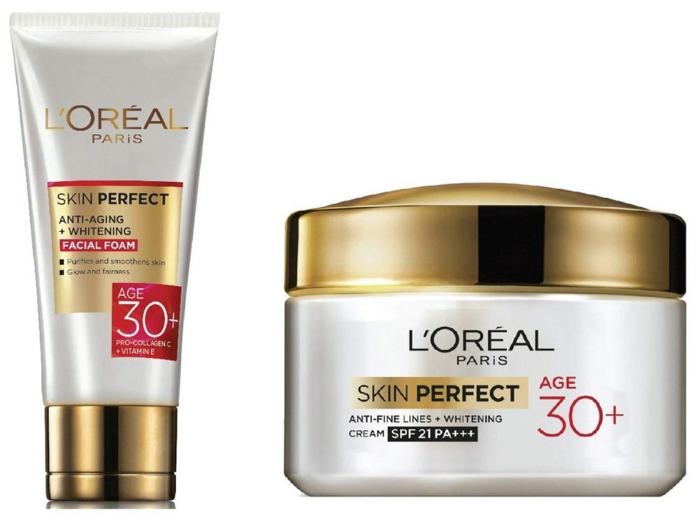 LOREAL Paris Skin Perfect + Facial Foam and LOREAL Paris skin perfect Anti-Fine Line cream