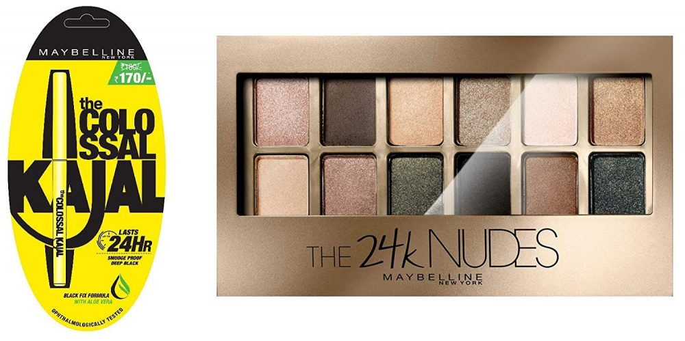 Maybelline new York colossal kajal and Maybelline new York the 24k gold nude palette eyeshadow