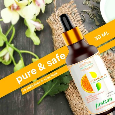 FIRSTZON vitamin C serum for face with vitamin C 40%, hyaluronic acid and green tea extract , for skin brightening, anti-ageing, wrinkle control 30ml , how to use vitamin C serum