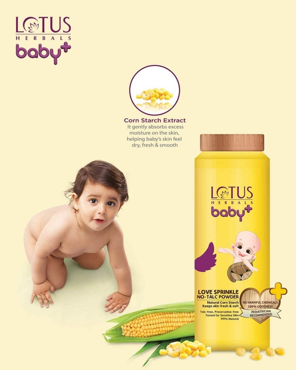 lotus herbals baby + love sprinkle no-talc powder 110g age 0-5