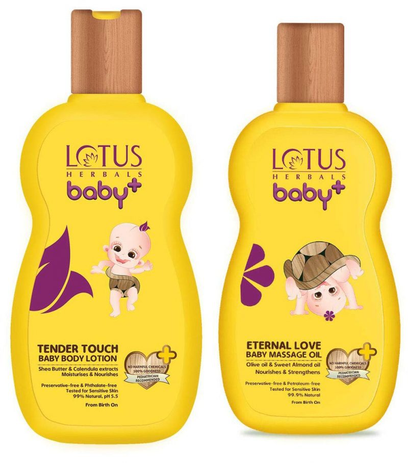 lotus baby body lotion & baby massage oil age 0-5