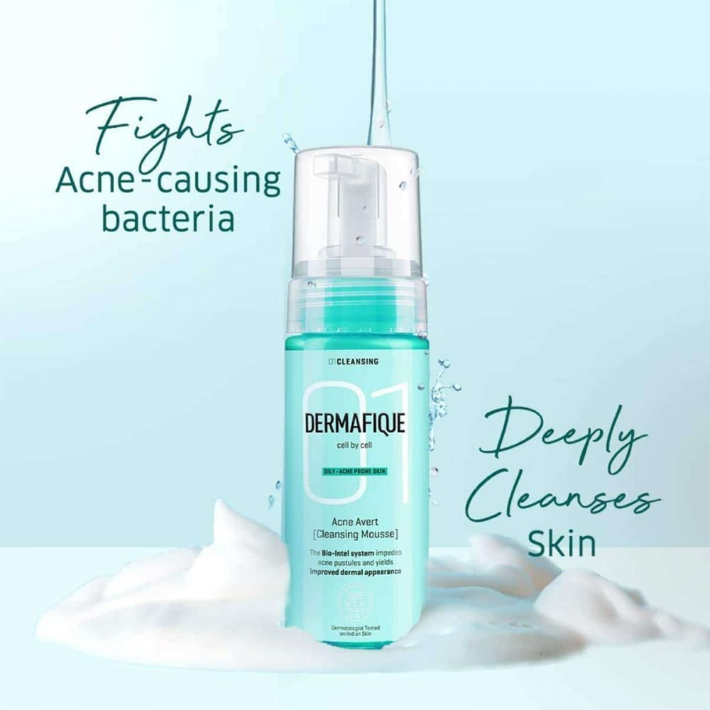 Dermafique Acne Avert Cleansing Mousse Face wash for oily to acne prone skin, Dermatologist tested, Paraben free, oil free, soap free, Non-comedogenic (150ml) , for all skin types