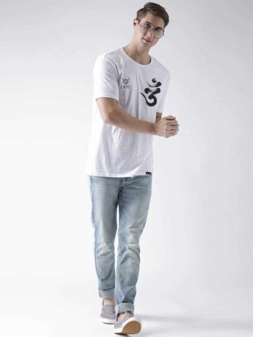 OOY cerate OM design printed white t-shirt . casual half-sleeve round neck white t-shirt