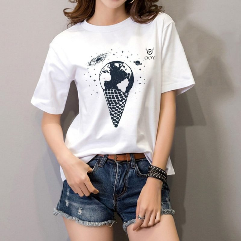 OOY graphic design creative printed white t-shirt for women . casual half-sleeve round neck white cotton t-shirt