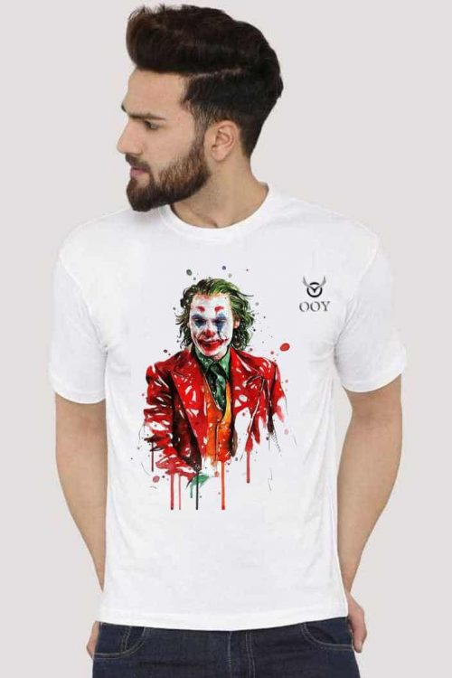 OOY cerate joker design printed white t-shirt . casual half-sleeve round neck white t-shirt