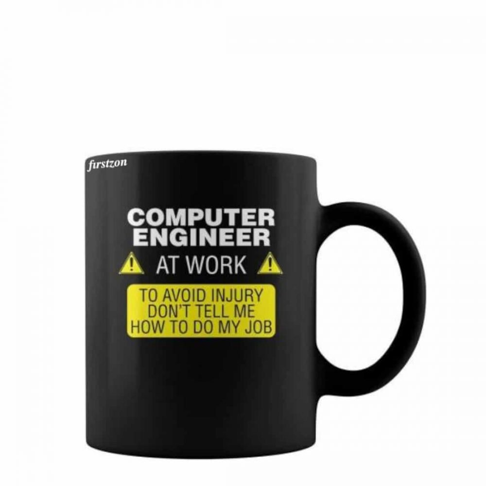 Personalized Special computer engineer at work printed black coffee & tea Mug