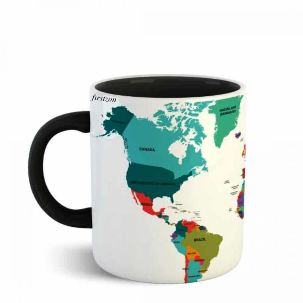 Personalized Special world map printed black Mug