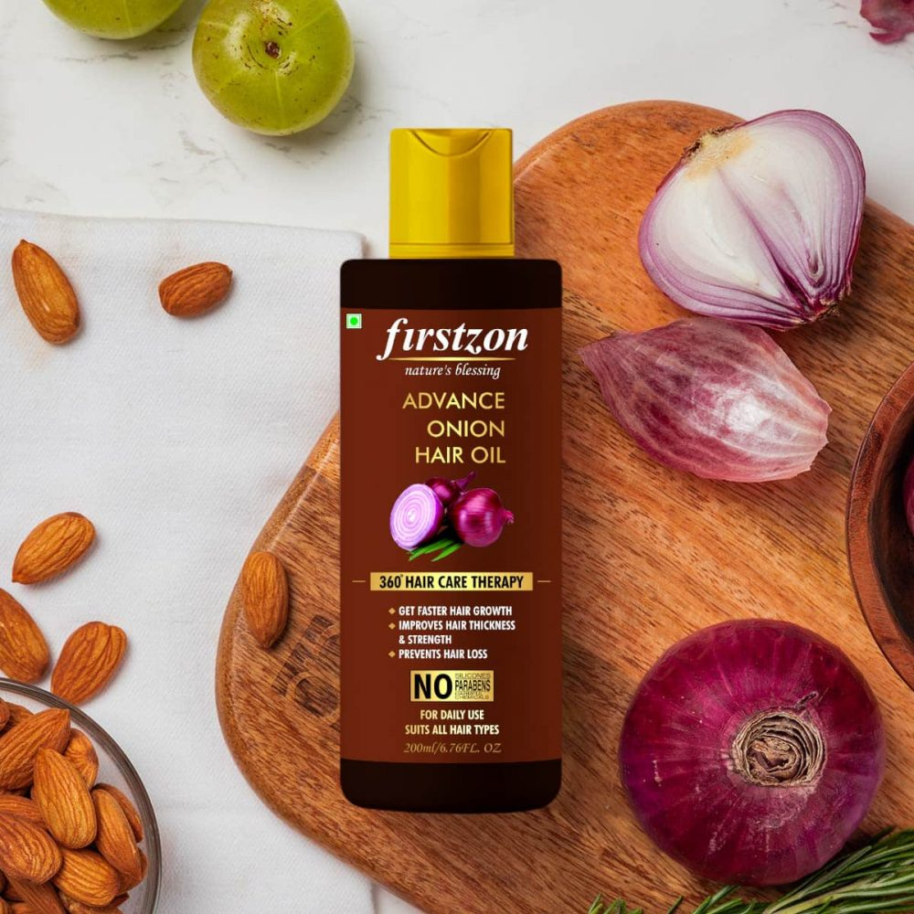 firstzon onion hair oil for strong and shiny hairs , advance onion hair oil