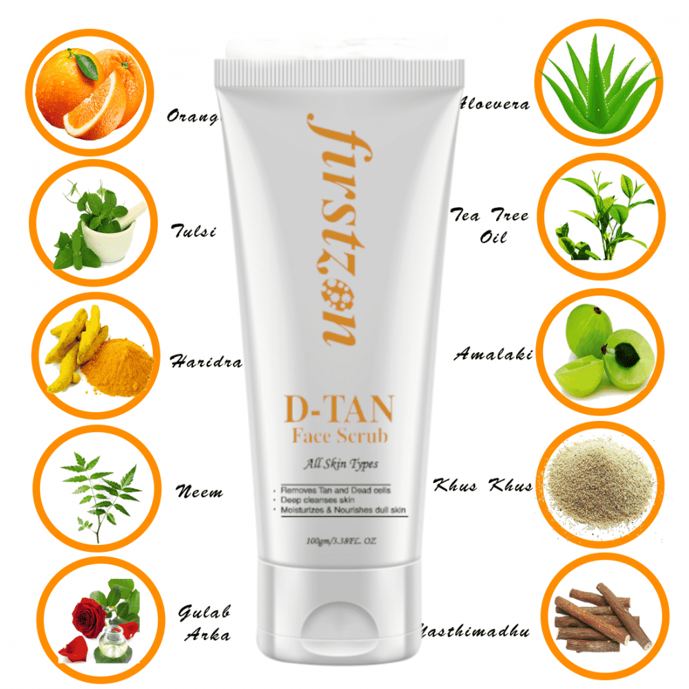 FIRSTZON men face scrub -100g- de-tan face scrub for men, exfoliation and tan removal with aloevera & green tea , no sulphate , no parabens, made in India , radiance d-tan face scrub wihtening & brightening tan removing formula , effective tan removal , lightens skin tone , encourages even skin tone , promotes radiance and vitality on skin , benefits :- removes blackheads , helps cleaning skin , helps in skin firming , fights acne , exfoliates deep tissues , improves skin radiance ,