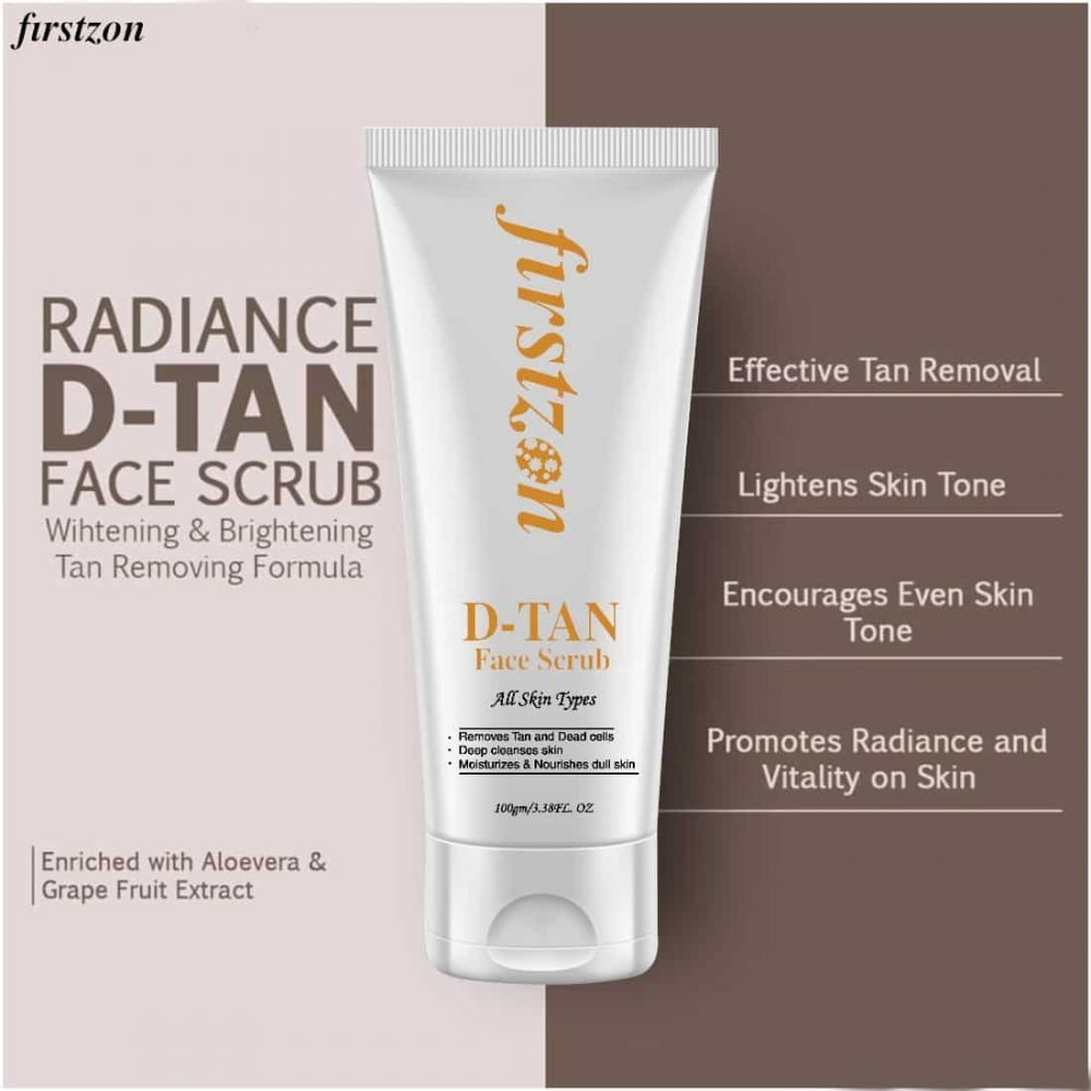 FIRSTZON men face scrub -100g- de-tan face scrub for men, exfoliation and tan removal with aloevera & green tea , no sulphate , no parabens, made in India , radiance d-tan face scrub wihtening & brightening tan removing formula , effective tan removal , lightens skin tone , encourages even skin tone , promotes radiance and vitality on skin