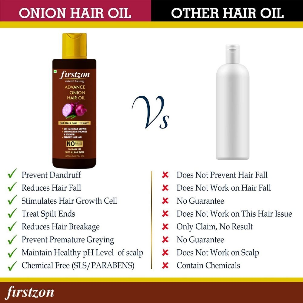 Firstzon onion Hair Oil with 16 Essential Oils, hair growth oil/serum For complete hair Treatment with Argan, Bhringraj, Hibiscus, Sesame, Amla, Sweet Almond, Olive and more 200ml
