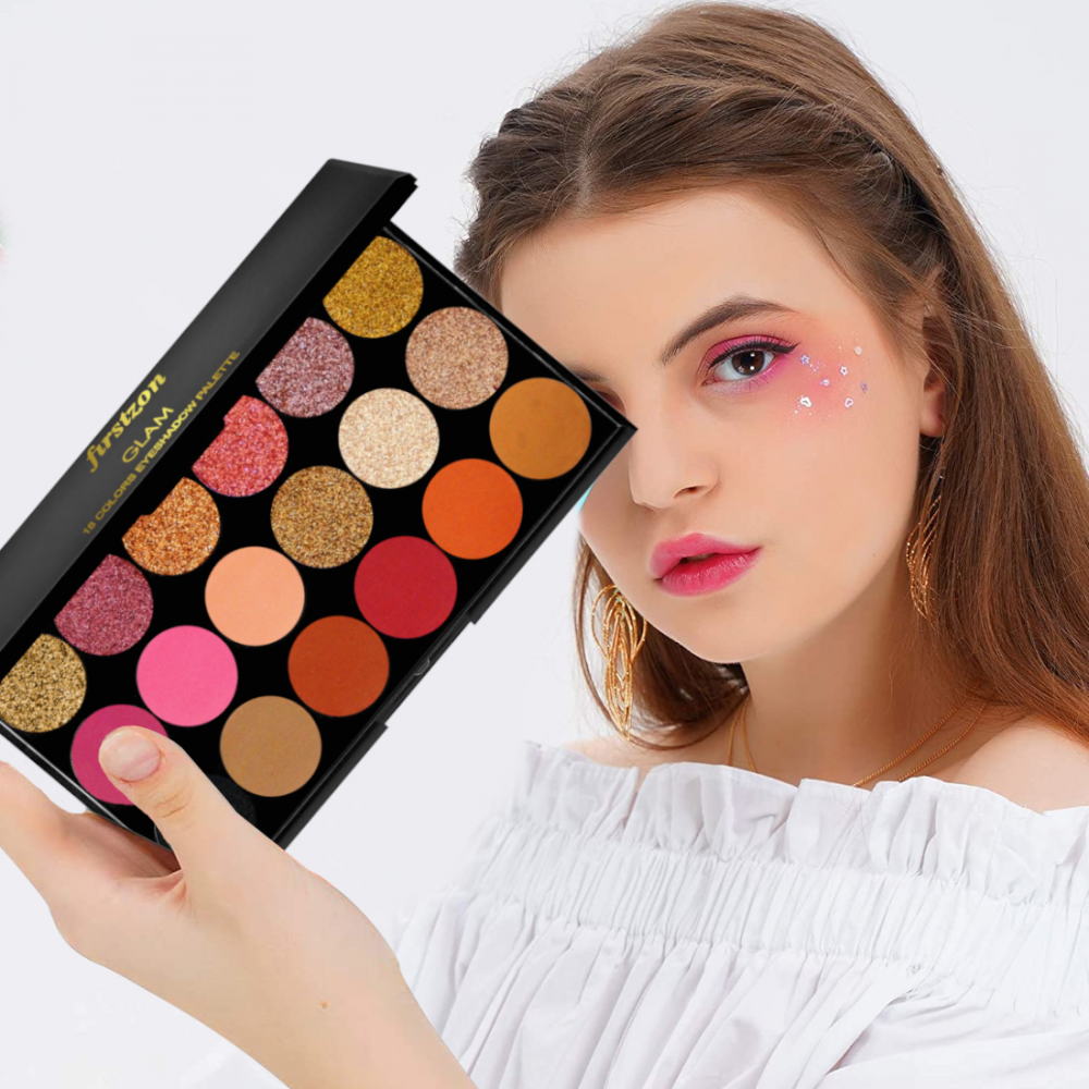 FIRSTZON Matte and shimmer eye shadow combo palette| glam eye shadow combo palette| smokey eye shadow combo palette| eye shadow combo palette| eye shadow powder palette| eye makeup palette| mini makeup palette| 22 g (multi color)