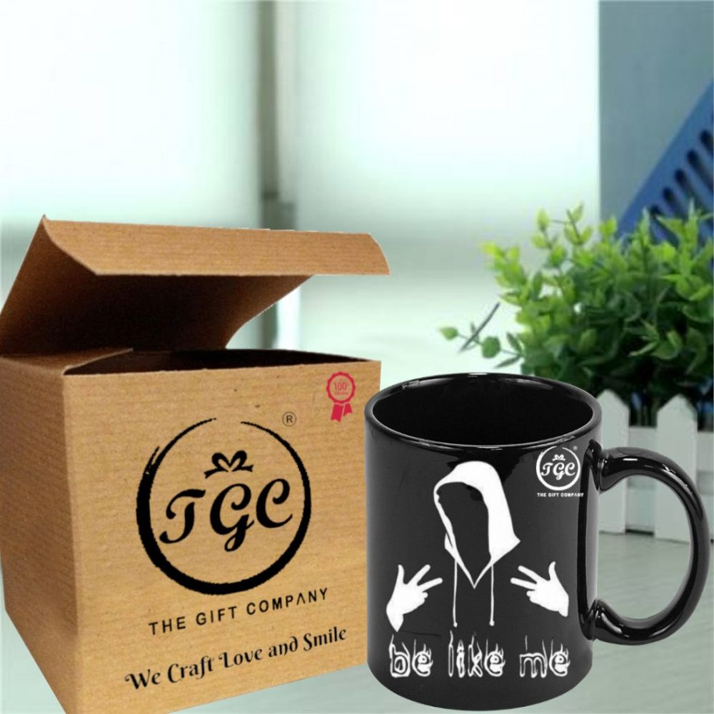 TGC THE GIFT COMPANY black printed mug